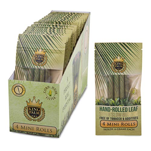 King Palm Hand Rolled Leaf Wrap Rolls - 4 Leaves/Pack - (24 Pack Display Box)
