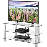 FITUEYES Classic Clear Tempered Glass TV Stand Suit for up to 46-inch LCD LED OLED TVS,TS310501GT
