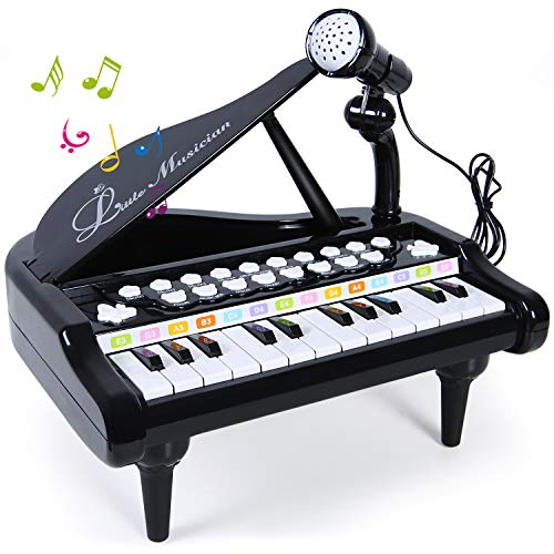 (SGILE Piano Keyboard Toy with Microphone, 24 Keys Musical Learn-to-Play Piano for Kids Girl Toddlers Singing Music Development, Audio Link Mobile MP3 IPad PC, Black)
