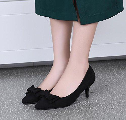 Chaussures Noir 38 noeud High Élégant heel Khskx Chaussure Unique Pointe heeled Papillon Doux High D'été 4pwExPg