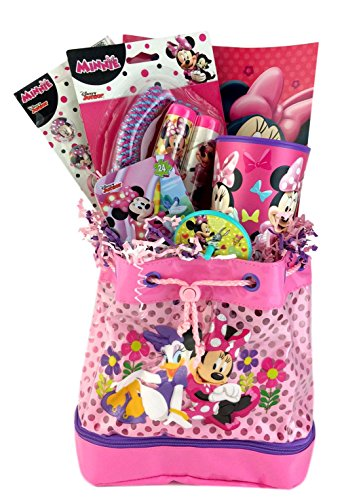 Minnie Mouse Themed Gift Basket Idea for Girls Birthday Get Well Christmas Care Package (Disney Gift Baskets)