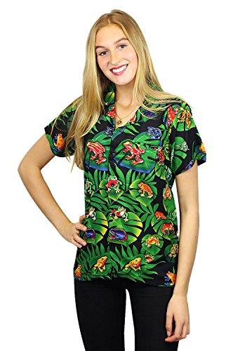 V.H.O Funky Hawaiian Blouse Women Short-Sleeve Front-Pocket Rainforest Frogs Black