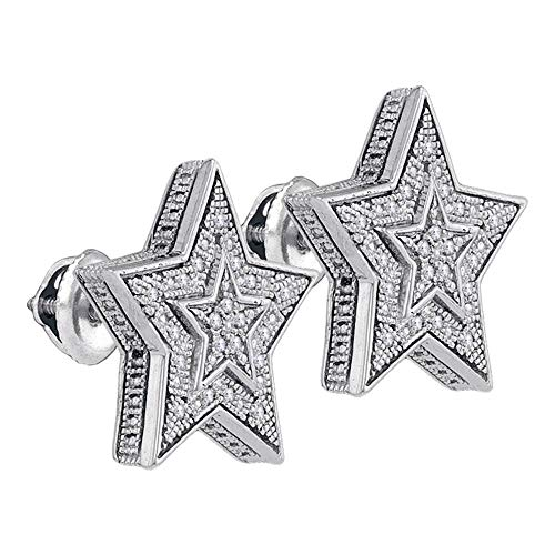 FB Jewels .925 Sterling Silver Mens Round Diamond Star Cluster Stud Earrings 1/10 Cttw (I2-I3 clarity; J-K color)