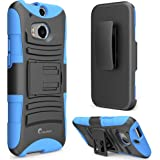 i-Blason All New HTC One M8 Case - Prime Series Dual Layer Holster Cover with Kickstand and Locking Belt Swivel Clip For HTC One Case 2014 ( Blue)