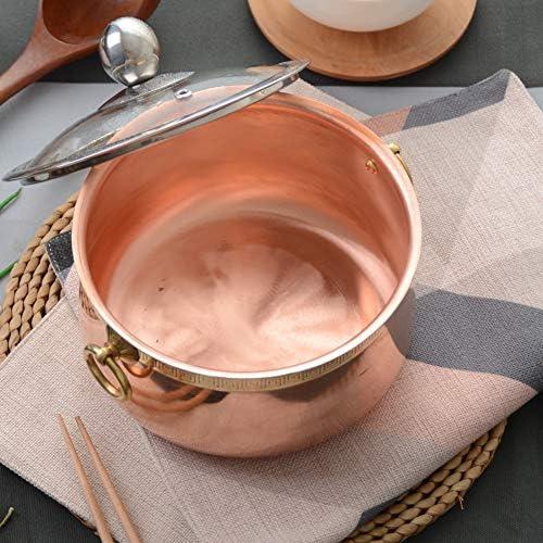 ストックポット シチュー 鍋 ガラス蓋付き,1.5L 純銅 しゃぶしゃぶ鍋 ラピッドヌードルクッカー,カバードキャセロール皿 ローズゴールド 15x8cm(6x3inch)