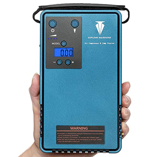 Air Pump Compressor with Tyre Car Jump Starter &mobile power support LCD screen tyre Pressure gauger&Outdoor Camping lights With 10200MA capacity, 500A Peak current and Peak output pressure 85PSI