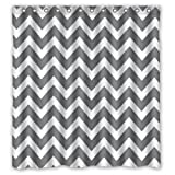 """66""""(Width) x 72""""(Height) Grey and White Chevron Zigzag Zig Zag Pattern Theme Design 100% Polyester Bathroom Shower Curtain Shower Rings Included -Best Visual Enjoyment For You"""