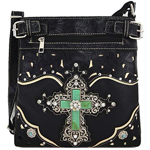 Western Rhinestone Cross Tooled Leather Concealed Carry Purse Crossbody Handbag Women Single Shoulder Bag (Black)
