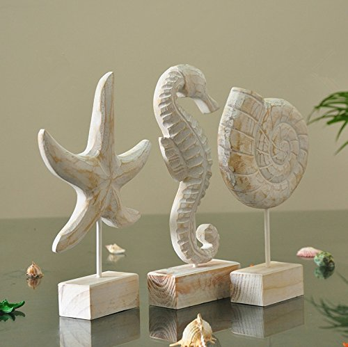 Resin Soft Decorations Gifts Home Eastern Mediterranean Style Three Piece Seahorse Conch Shells Starfish Ornaments Resin Crafts by Ganesa Deepak