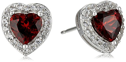 Sterling Silver Genuine Garnet and Created White Sapphire Halo Heart Stud - Garnet Heart 6 Mm