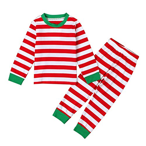 Toddler Kids 2 Piece Stried Pajamas Set Striped Shirt + Legging Pants (3T, Red)