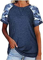 Xinantime Womens Casual Raglan Shirts Short Sleeve Print Round Neck Tee Summer Loose T Shirts Blouse Tops Tuni