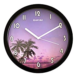 JustNile 10 Romantic Nautical Round Quiet Sweep Movement, Wall Clock, Black Frame with White Clockhands, Palm Tree with Purple Sunset