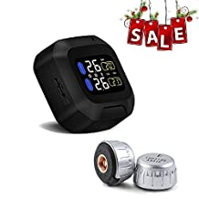ALUNAR Wireless TPMS Motorbike Auto Tire Alarm Motorcycle Tire Pressure Monitoring System Super Waterproof Sun Protection Autocycle Tool CAREUD M3 LCD Display with 2 Sensors for Two-wheeled Motor Bicycle (Sensor 18*13 mm)