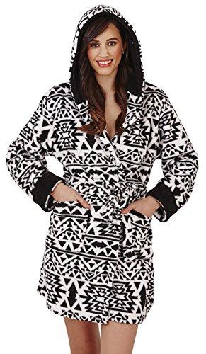 White Lingerie Multiple Aztec Motifs Super Loungeable De Robe And Molleton Hooded Femmes Salon Black De Styles Nuit Luxe Doux w77qPa8T