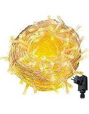 Cadena de Luces WISD Guirnalda de Luz Impermeable con 8 Modos y Función de Memoria, Cable de Color Transparente, Perfecto para Exterior e Interior, Navidad Fiestas Boda Jardín Dormitorio