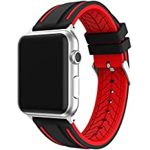 For Apple Watch Series Apple Watch Strap, EL-move 38mm/42mm Silicone Watch Band Replacement Wristband for Both Apple Watch Series 1 and Series 2 Series 3,(BLACK RED 42MM)