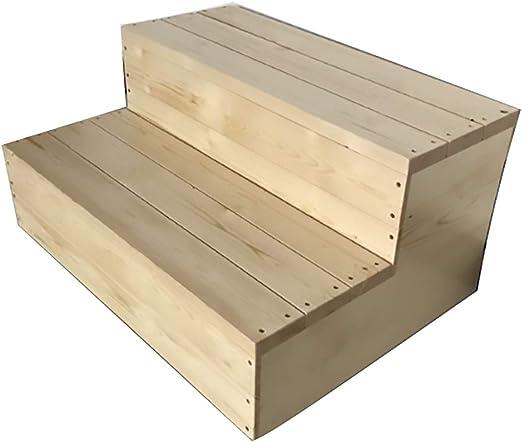 ZM&Taburete Escabel Pedal De Escalada De Doble Capa. Escalera De Madera Maciza Multifunción para El Hogar. Escaleras Antideslizantes para Baño Disponibles En Varios Tamaños. (Size : 80x60x40cm): Amazon.es: Hogar