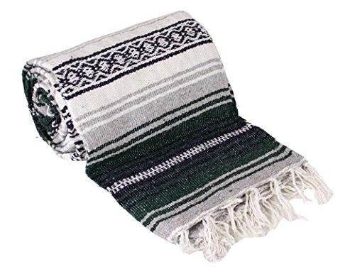 Mexican Style Falsa Yoga Blanket (Dark Green/Forest)