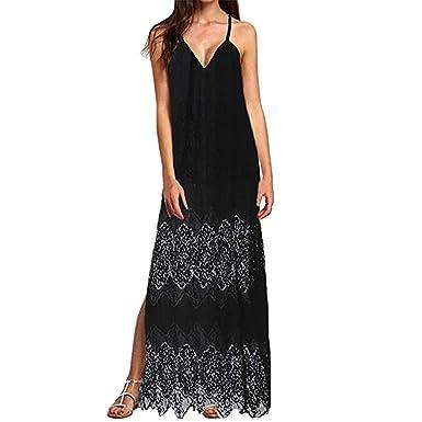 a9236697da224 Quealent Women's Summer Sundress Sleeveless Beach Crochet Backless ...