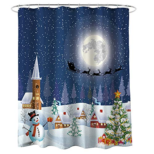 Grancens Christmas Shower Curtain Snowman Xmas Tree Santa Winter Season Christmas Gift New Year Eve Present Waterproof Fabric Bathroom Décor Hooks Included (71x71, Silent Night)