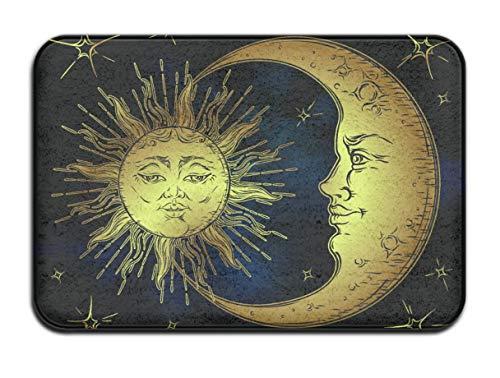 (SARA NELL Home Decor Non-slip Vintage Art Golden Sun Moon Star Doormat Floor Door Mat Indoor Outerdoor Bathroom 23.6 x 15.7 inch)