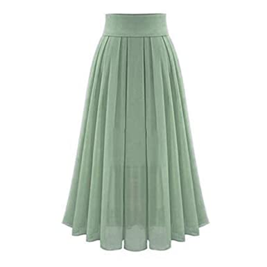 face67796cb0 Amazon.com: Women's Tulle Maxi Skirts| Elegant Chiffon Party Dress| High  Waist Solid Pleated Long Skirt: Clothing