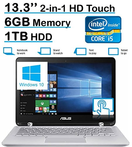 ASUS Q304UA 13.3-inch 2-in-1 Touchscreen Full HD Laptop PC (2016 Premium Edition 6th Intel Core i5-6200U up to 2.8GHz 6GB RAM 1TB HDD) Silver