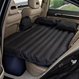 Isasar Car Inflatable Mattress Travel Air Bed Camping Cushion Universal SUV Extended Air Couch with Two Air Pillows (Black)
