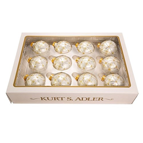 - Kurt Adler 60mm Silver/Gold+Silver Detail Balls, Set of 12