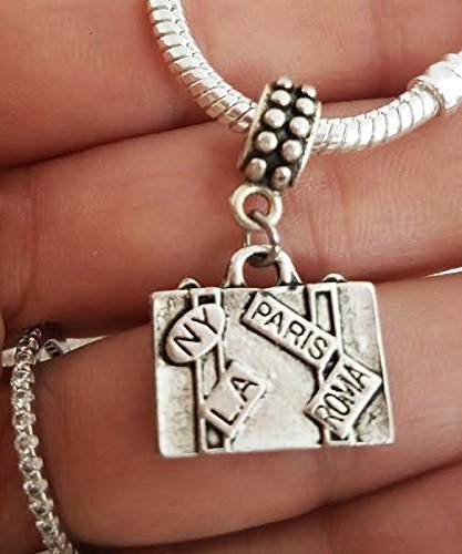 EWT Travel NY New york paris Rome Roma suitcase handbag bag charm pendant for all DIY charm bracelets and any chain necklace ()