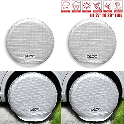 DEDC Tire Covers, 4 Pack Aluminum Film Waterproof Tire Protector for Auto Truck Car Camper Fits 27 to 29 Inch Wheel