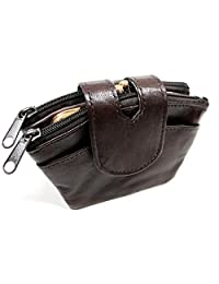 Soft Leather Coin Purse Multi Pocket for Change, Card, Cash Double Snap Closure 6 Color: Black, Bone, Brown, Burgundy Wine, Red, Tan