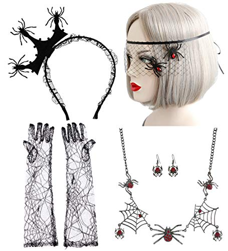 Halloween Gothic Lace Spider Necklace Earring Bracelet Set (#2)