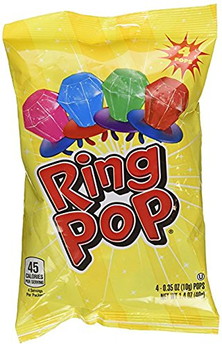 Ring Pop Bag 4-0.35 OZ (10g), Net Wt 1.4 OZ (40g) (Sucker Rings)