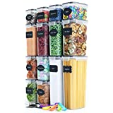 Chef's Path Airtight Food Storage Container Set - 14 PC - Kitchen & Pantry Organization - BPA-Free - Plastic Canisters with Durable Lids Ideal for Cereal, Flour & Sugar - Labels, Marker & Spoon Set (Color: Black Seal)