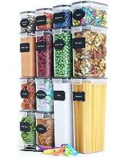 Chef's Path Lufttät matförvaringsbehållarset – kök och skafferiorganisation – BPA-fria – plastbehållare med hållbara lock idealiska för flingor, mjöl och socker – etiketter, markör och skedset