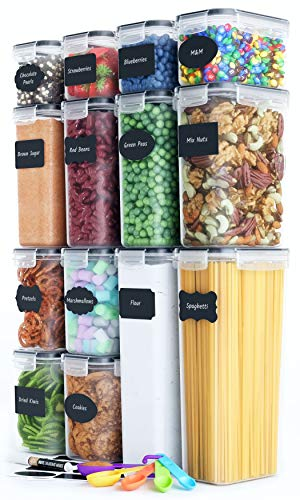 Airtight Food Storage Containers Set [14 Piece] – Kitchen Pantry Organization and Storage, BPA-Free, Plastic Canisters…