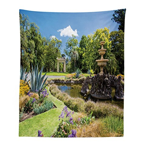 Lunarable Garden Tapestry, Fitzroy Gardens in a Summer Day Fountain Historical Iconic Tourist Attraction Place, Fabric Wall Hanging Decor for Bedroom Living Room Dorm, 23 W X 28 L Inches, (His Boy Garden Fountain)
