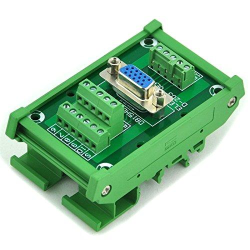 Electronics-Salon D-SUB DB15HD Female DIN Rail Mount Interface Module, Breakout Board.