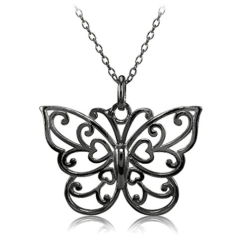 Hoops & Loops Sterling Silver High Polished Filigree Butterfly Necklace (Black-Rhodium-Plated-Silver)