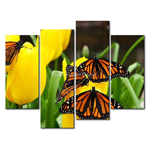 YEHO Art Gallery Painting Monarch Butterflies Stop On The Tulip Print On Canvas The Picture Animal Pictures