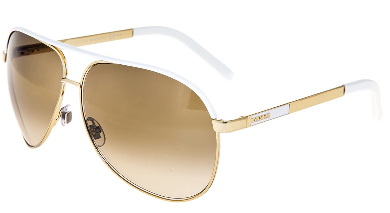 230fb3db0 Amazon.com: GUCCI Aviator GG1827S Gold Metal White Sunglasses Brown  Gradient 1827: Clothing