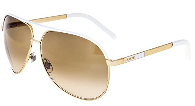 6104f8e745ba Image Unavailable. Image not available for. Colour: GUCCI Aviator GG1827S  Gold Metal White Sunglasses Brown Gradient 1827