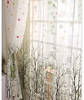 Elleweideco Modern Tree Branch White Sheer Green/pink/grey Window Curtains/ Drape/