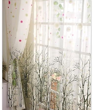 Beautiful Elleweideco Modern Tree Branch White Sheer Green/pink/grey Window Curtains /drape/