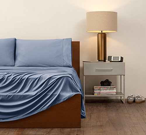 SHEEX - ORIGINAL PERFORMANCE Sheet Set with 2 Pillowcases, Ultra-Soft Fabric Transfers Body Heat and Breathes Better than Traditional Cotton, Carolina Blue (Queen) by Sheex (Image #9)'