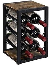OROPY Vintage wijnrek voor 6 houten flessen, 3-etages, vrijstaand bureau-flessenhouder, opbergrek voor keuken, kast, bar, kelder, tuin