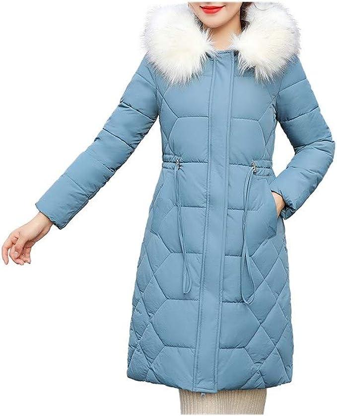 Damen Winterjacke Lang Jacken M/äntel Winterjacke Parka Mantel