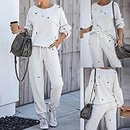 BXzhiri 2Pcs for Women Tracksuit Pentagram Print Pants Sets Leisure Wear Lounge Wear Suit